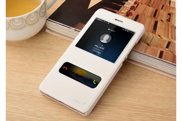 """Фирменный чехол-книжка для Huawei Honor 4C Pro (TIT-L01) 5.0"""" белый с окошком для входящих вызовов и свайпом водоотталкивающий"""