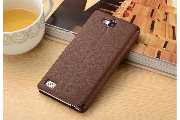 """Фирменный чехол-книжка для Huawei Honor 4C Pro (TIT-L01) 5.0"""" коричневый с окошком для входящих вызовов и свайпом водоотталкивающий"""