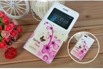 Фирменный чехол-книжка с безумно красивым расписным рисунком бабочка на Huawei Honor 4c  с окошком для звонков