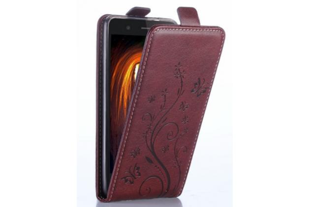 Фирменный вертикальный откидной чехол-флип для Huawei Honor 4c Золотое Цветение  коричневый