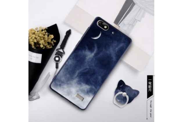 """Фирменная необычная уникальная силиконовая задняя панель-чехол-накладка для Huawei Honor 4c """"тематика темная ночь"""""""