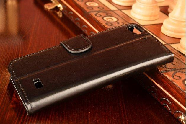 Фирменный чехол-книжка из качественной импортной кожи с мульти-подставкой застёжкой и визитницей для Huawei Honor 4c черный