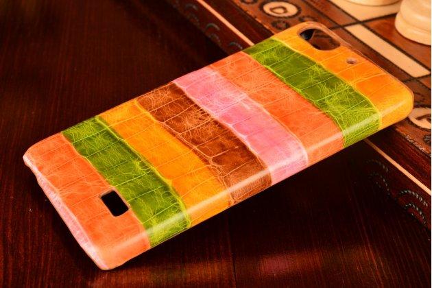 """Фирменная неповторимая экзотическая панель-крышка обтянутая кожей крокодила с фактурным тиснением для Huawei Honor 4c  тематика """"Тропический Коктейль"""". Только в нашем магазине. Количество ограничено."""