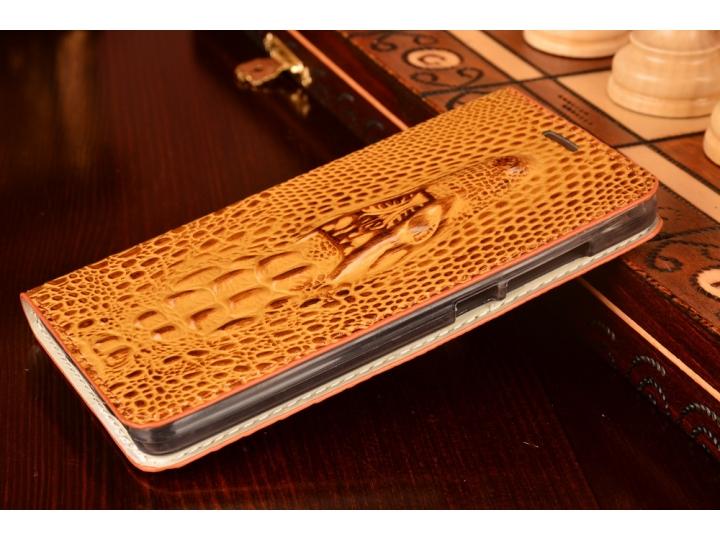 Фирменный роскошный эксклюзивный чехол с объёмным 3D изображением кожи крокодила коричневый для Huawei Honor 4..