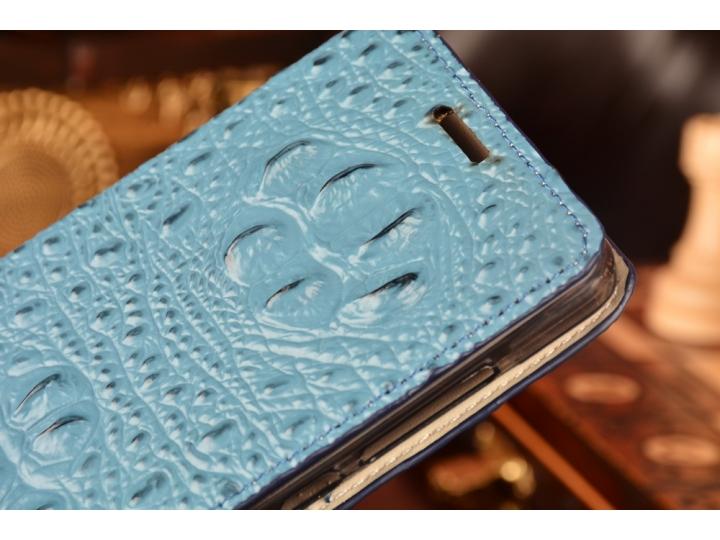 Фирменный роскошный эксклюзивный чехол с объёмным 3D изображением рельефа кожи крокодила синий для Huawei Hono..