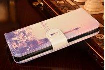 """Фирменный уникальный необычный чехол-подставка с визитницей кармашком для Huawei Honor 4c """"тематика Франция"""""""