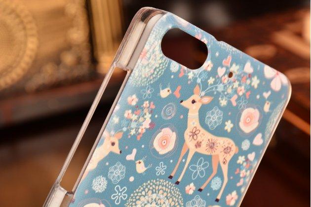 Фирменная необычная из легчайшего и тончайшего пластика задняя панель-чехол-накладка для Huawei Honor 4c тематика Олени в цветах
