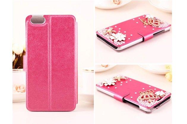 Фирменный роскошный чехол-книжка безумно красивый декорированный бусинками и кристаликами на Huawei Honor 4X
