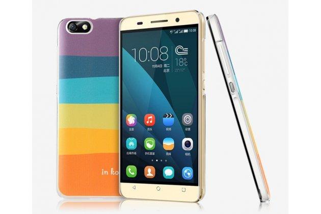 """Фирменная необычная из легчайшего и тончайшего пластика задняя панель-чехол-накладка для Huawei Honor 4X """"тематика Все цвета Радуги"""""""