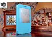 Фирменный чехол-книжка для Huawei Honor 4X голубой кожаный с окошком для входящих вызовов..