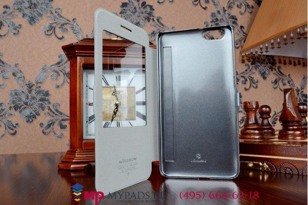 Фирменный оригинальный чехол-книжка для Huawei Honor 3X черный кожаный с окошком для входящих вызовов