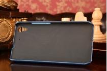 Фирменная роскошная элитная премиальная задняя панель-крышка для Huawei Honor 4A/Y6/ Y6 Dual sim из качественной кожи буйвола с визитницей синий
