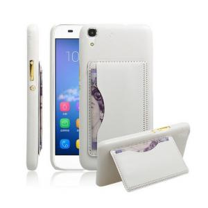 Фирменная роскошная элитная премиальная задняя панель-крышка для Huawei Honor 4A/Y6/ Y6 Dual sim из качественной кожи буйвола с визитницей белый