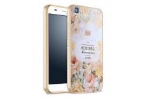"""Фирменная золотая металлическая задняя панель-крышка-накладка из тончайшего облегченного авиационного алюминия для Huawei Honor 4A/Y6/ Y6 Dual sim с объёмным 3D рисунком """"тематика королевские Розы"""""""