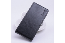 """Фирменный оригинальный вертикальный откидной чехол-флип для Huawei Honor 4A/Y6/ Y6 Dual sim черный из натуральной кожи """"Prestige"""" Италия"""