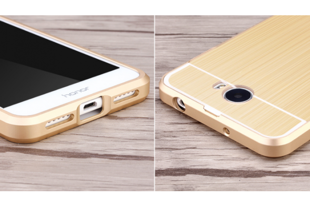 """Фирменная металлическая задняя панель-крышка-накладка из тончайшего облегченного авиационного алюминия для Huawei Honor 5 (Cun-TL00)""""  золотая"""