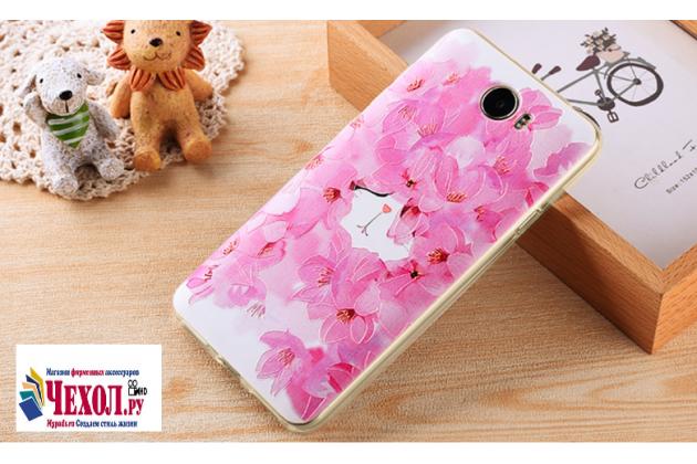 """Фирменная задняя панель-чехол-накладка из прозрачного силикона с объёмным 3D рисунком для Huawei Honor 5 (Cun-TL00)""""  """"тематика цветущий сад"""""""