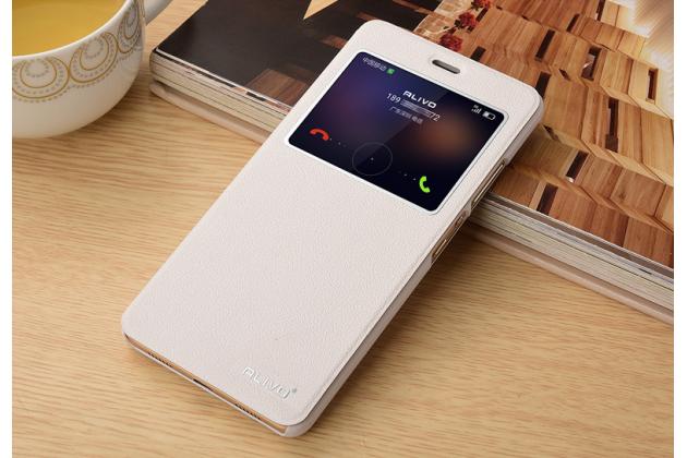 """Фирменный оригинальный чехол-книжка для Huawei Honor 5 (Cun-TL00)""""  белый водоотталкивающий с окошком для входящих вызовов"""