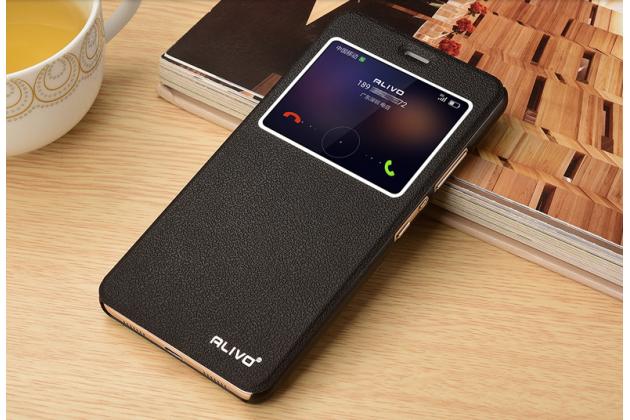 """Фирменный оригинальный чехол-книжка для Huawei Honor 5 (Cun-TL00)""""  черный водоотталкивающий с окошком для входящих вызовов"""