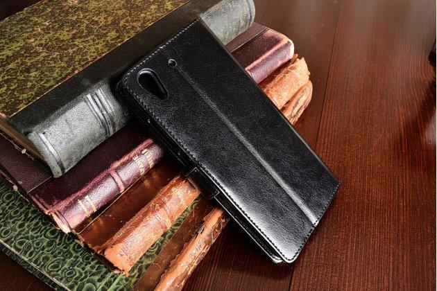 """Фирменный чехол-книжка для Huawei Y6 2 (II)""""  с визитницей и мультиподставкой черный кожаный"""