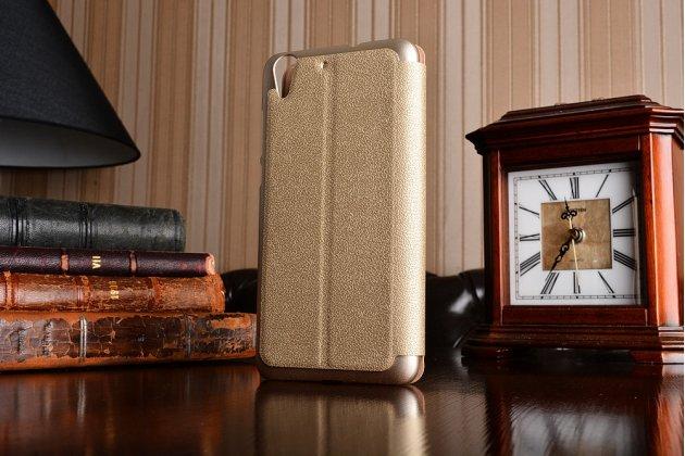 """Фирменный чехол-книжка для Huawei Y6 2 (II)"""" золотой с окошком для входящих вызовов и свайпом водоотталкивающий"""