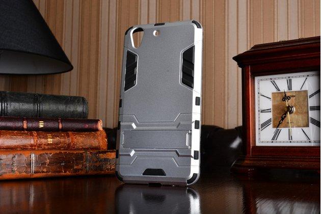 """Противоударный усиленный ударопрочный фирменный чехол-бампер-пенал для Huawei Y6 2 (II)""""  серебристый"""
