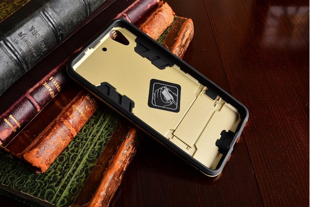 """Противоударный усиленный ударопрочный фирменный чехол-бампер-пенал для Huawei Y6 2 (II)""""   золотой"""