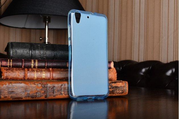 """Фирменная ультра-тонкая силиконовая задняя панель-чехол-накладка для Huawei Y6 2 (II)"""" голубая"""