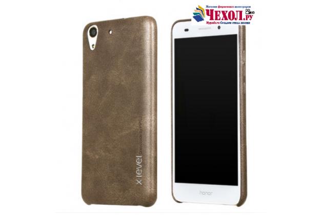"""Фирменная премиальная элитная крышка-накладка из тончайшего прочного пластика и качественной импортной кожи  для Huawei Y6 2 (II)"""" """"Ретро под старину"""" коричневая"""