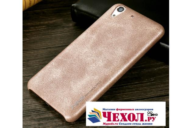 """Фирменная премиальная элитная крышка-накладка из тончайшего прочного пластика и качественной импортной кожи  для Huawei Y6 2 (II)""""  """"Ретро под старину"""" серая"""