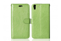 """Фирменный чехол бизнес класса для Huawei Y6 2 (II)"""" с визитницей и держателем для руки зеленый натуральная кожа """"Prestige"""" Италия"""