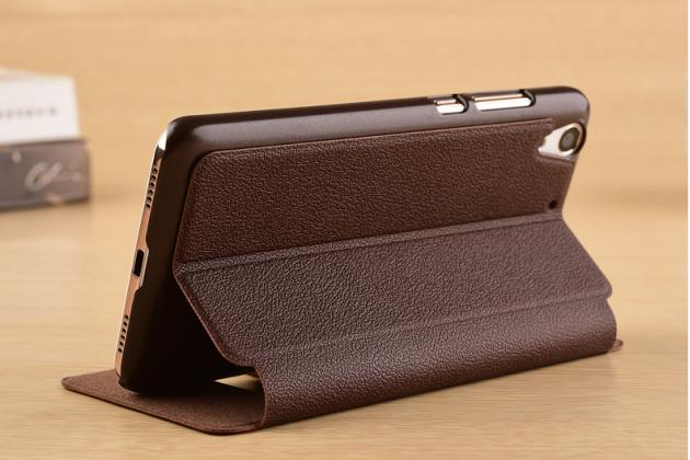 """Фирменный чехол-книжка для Huawei Y6 2 (II)"""" коричневый с окошком для входящих вызовов и свайпом водоотталкивающий"""
