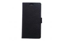 """Фирменный чехол-книжка с подставкой для Huawei Y6 2 (II)"""" лаковая кожа крокодила черный"""