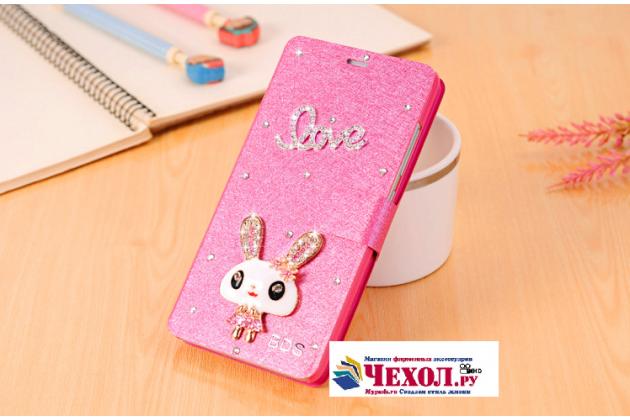 """Фирменный роскошный чехол-книжка безумно красивый декорированный бусинками и кристаликами на Huawei Y6 2 (II)"""" розовый"""