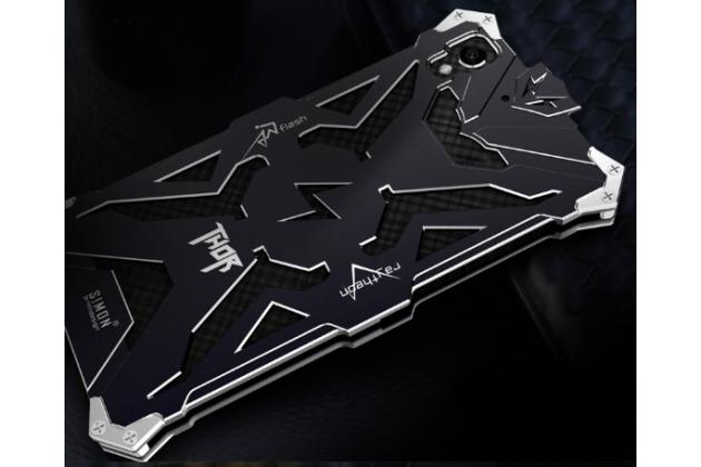 """Противоударный металлический чехол-бампер из цельного куска металла с усиленной защитой углов и необычным экстремальным дизайном для Huawei Y6 2 (II)"""" черного цвета"""