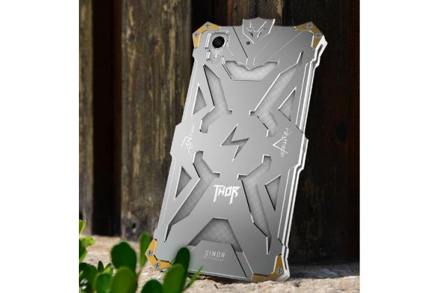 """Противоударный металлический чехол-бампер из цельного куска металла с усиленной защитой углов и необычным экстремальным дизайном для Huawei Y6 2 (II)"""" серебристого цвета"""