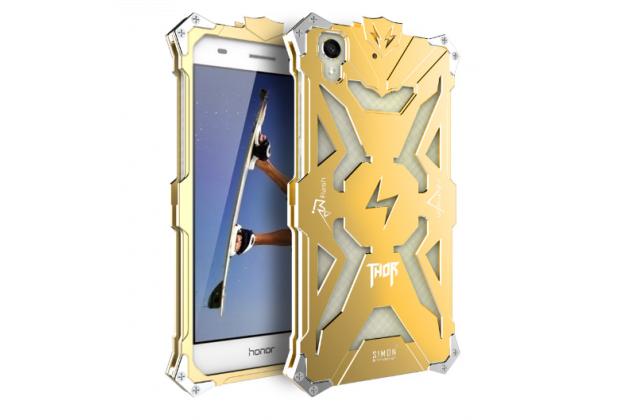 """Противоударный металлический чехол-бампер из цельного куска металла с усиленной защитой углов и необычным экстремальным дизайном для Huawei Y6 2 (II)"""" золотого цвета"""