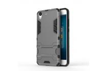 """Противоударный усиленный ударопрочный фирменный чехол-бампер-пенал для Huawei Y6 2 (II)"""" серый"""