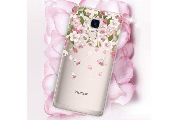 """Фирменная роскошная задняя панель-чехол-накладка из прозрачного качественного силикона с изящным дизайном для Huawei Honor 5C/7 Lite/GT3 5.2"""" декорированная кристаллами  тематика """"Цветы"""""""
