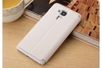 """Фирменный чехол-книжка для Huawei Honor 5C/7 Lite/GT3 5.2"""" белый с окошком для входящих вызовов и свайпом водоотталкивающий"""