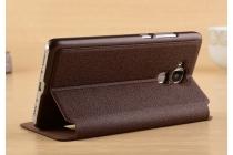 """Фирменный чехол-книжка для Huawei Honor 5C/7 Lite/GT3 5.2"""" коричневый с окошком для входящих вызовов и свайпом водоотталкивающий"""