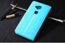 """Фирменный чехол-книжка из качественной импортной кожи с подставкой застёжкой и визитницей для Huawei Honor 5C/7 Lite/GT3 5.2"""" голубой"""
