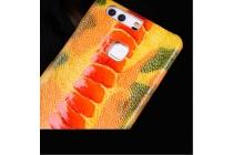 """Фирменная роскошная эксклюзивная накладка из натуральной КОЖИ С НОГИ СТРАУСА оранжевая  для Huawei Honor 5C/7 Lite/GT3 5.2"""". Только в нашем магазине. Количество ограничено"""