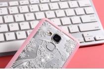"""Фирменная роскошная задняя панель-чехол-накладка из прозрачного качественного силикона с изящным дизайном для Huawei Honor 5C/7 Lite/GT3 5.2"""" декорированная кристаллами  тематика """"Золушка"""""""