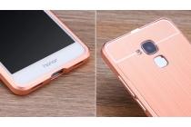 """Фирменная металлическая задняя панель-крышка-накладка из тончайшего облегченного авиационного алюминия для Huawei Honor 5C/7 Lite/GT3 5.2"""" розовая"""