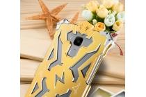 """Противоударный металлический чехол-бампер из цельного куска металла с усиленной защитой углов и необычным экстремальным дизайном  длям  Huawei Honor 5C/7 Lite/GT3 5.2"""" золотого цвета"""