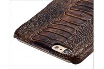 """Фирменная роскошная эксклюзивная накладка с объёмным 3D изображением рельефа кожи крокодила коричневая для Huawei Honor 5C/7 Lite/GT3 5.2"""". Только в нашем магазине. Количество ограничено"""