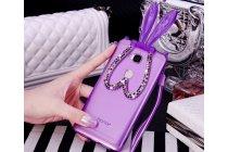 """Фирменная ультра-тонкая полимерная из мягкого качественного силикона задняя панель-чехол-накладка декоррированная  стразами и кристаликами с ушками зайки для Huawei Honor 5C/7 Lite/GT3 5.2"""" фиолетовая"""