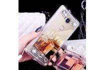 """Фирменная ультра-тонкая полимерная из мягкого качественного силикона задняя панель-чехол-накладка украшенная стразами и кристалликами для Huawei Honor 5C/7 Lite/GT3 5.2"""" золотая"""