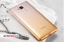 """Фирменная ультра-тонкая полимерная задняя панель-чехол-накладка из силикона для  Huawei Honor 5C/7 Lite/GT3 5.2""""  прозрачная  с эффектом песка"""